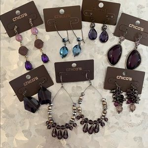 Lot of jewel toned earrings